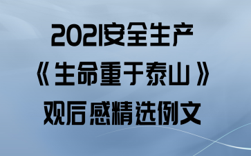 2021安全生产《生命重于泰山》观后感精选例文