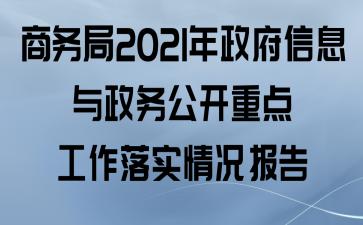 商务局2021年政府信息与政务公开重点工作落实情况报告