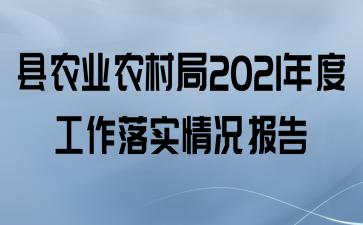 县农业农村局2021年度工作落实情况报告